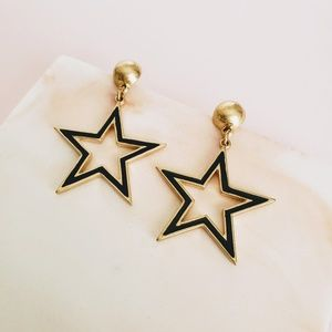 Gold and Black Large Star Statement Earrings